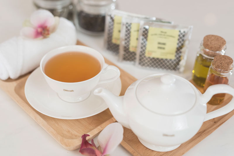A soothing tea service that guests enjoy in the spa