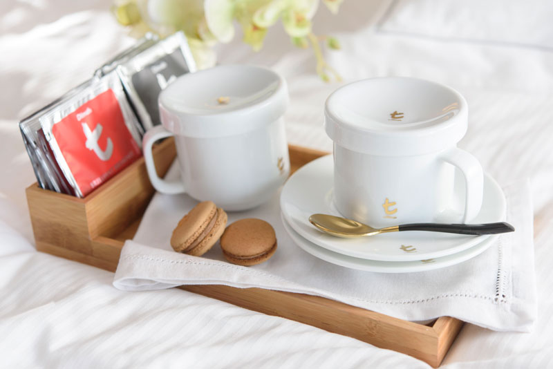 Soft white porcelain tea cups for in-rooms